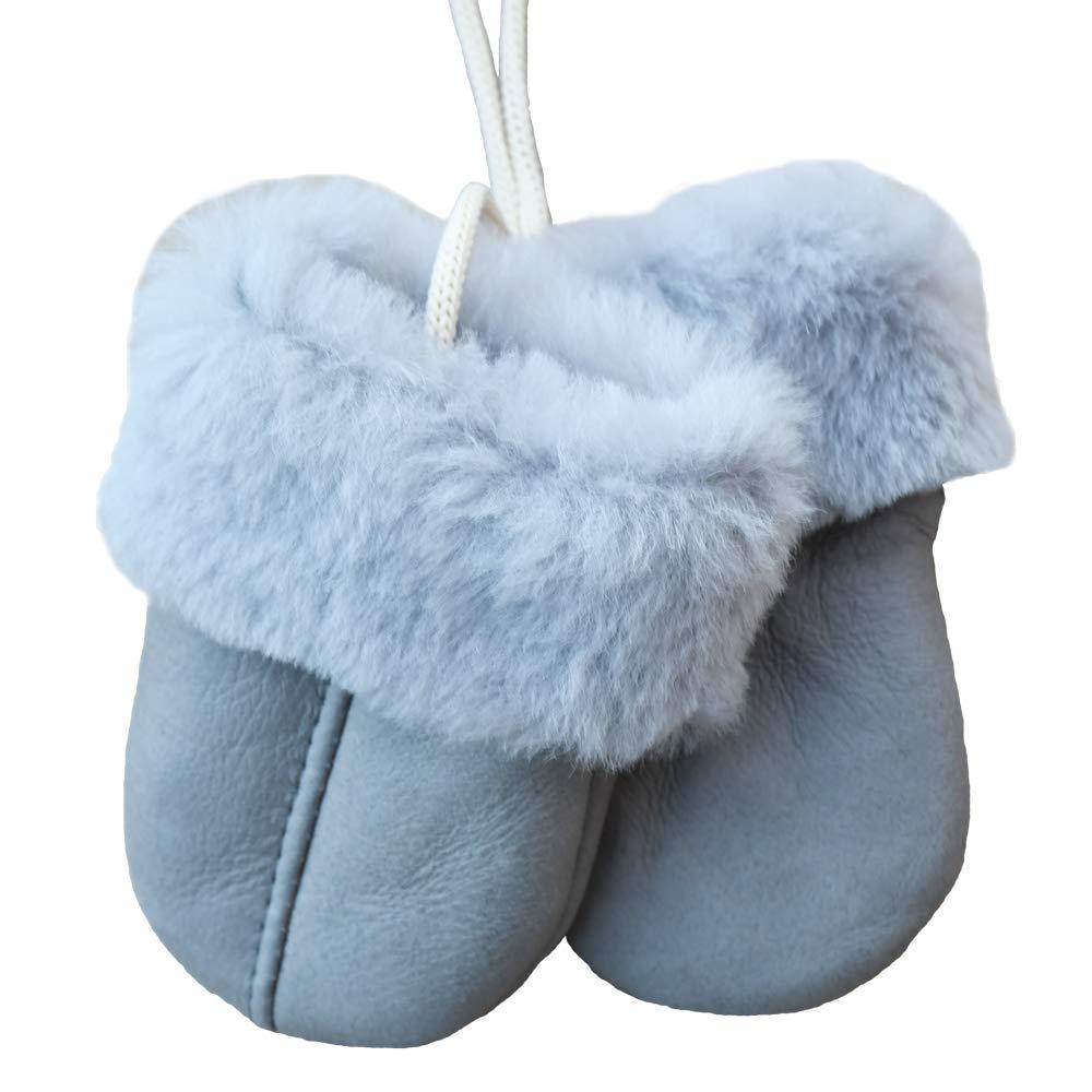 SamWo, Babyhandschuhe aus echtem Lammfell, kuschelig warmes Naturprodukt, fü r Kinder von 0-1 1/2 Jahren, Farbe: hellgrau Babyhandschuhe 0-18 Mon natur