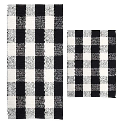 (MORECARE Buffalo Checkered Plaid Rug, Set of 2 100% Cotton Hand-Woven Durable Black and White Kitchen Rug Carpet Doormat for Bedroom Laundry and Bathroom, 18''x 28'' and 24'' x 51'')