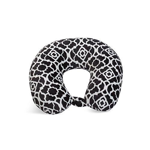 World's Best Cushion Soft Microfiber Neck Pillow, Trellis Black