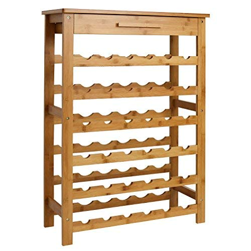 Kinsuite Bamboo Wine Rack Modular Wine Storage Holder Display Shelves for Storing Bottles at Home 36 Bottle Wine Rack Free Standing Floor 6 Shelves with - Wine Modular Storage