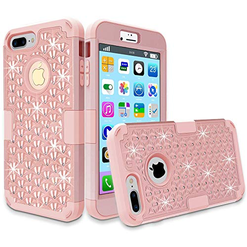 iPhone 7 Plus Case, MCUK 3 in 1 Hybrid Best Impact Defender Cover Silicone Rubber Skin Hard Combo Bumper with Scratch-Resistant Case for Apple iPhone 7 Plus (2016) (Rose Gold) (Otterbox Leopard Cover Case Pink)