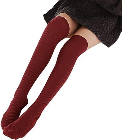 TININNA Calcetines Altos Muslo Mujer Calcetines Largos sobre la Rodilla Muslo Calcetines Invierno Caliente Algodón Fútbol Calcetines la Rodilla para Mujer Niña: Amazon.es: Hogar