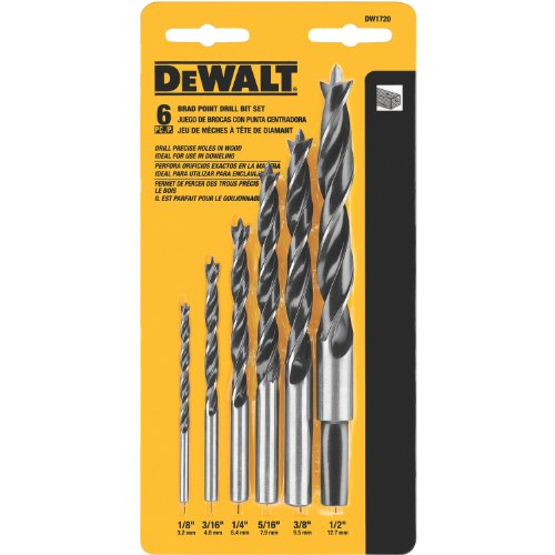 DEWALT DW1720 Brad Point Bit Set, 6-Piece (Bit Wood Drill)