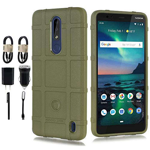 Compatible for Nokia 3.1 Plus, with [Tempered Glass Screen Protector] Grooved Shockproof Shell Rugged Shield Impact Cover [Accessory Bundle] (Olive) (Price Of Sd Card 32gb In India)