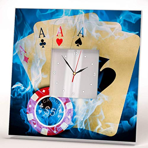 Poker Cards $5 Chips 4 Aces Wall Clock Framed Mirror Decor Casino Fan Design Art Printed Home Gift
