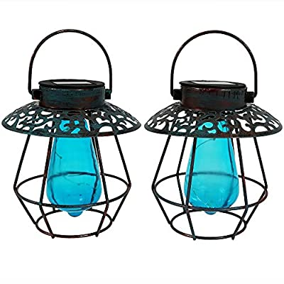Sunnydaze Caged Solar Lantern with Vintage Style Bulb - Set of 2 - Color Options