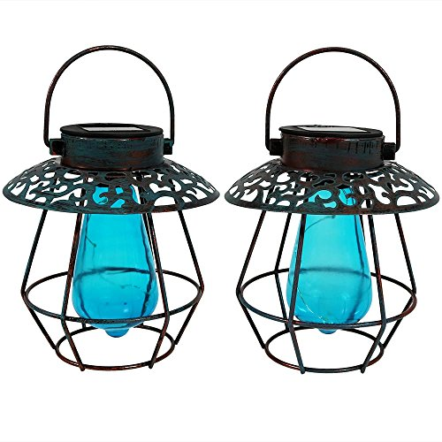 Sunnydaze Outdoor Patina Caged Solar Lantern with Blue Vintage Style Bulb and LED Light String, Set of 2 (Exterior Small Hanging)