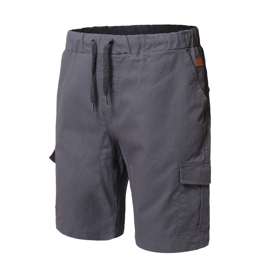 STORTO Mens Solid Slim Fit Shorts Pockets Bind Elastic Waist Summer Sports Casual Cargo Shorts