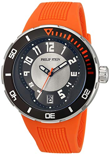 Philip Stein Men s 34-BRG-RO Extreme Orange Rubber Strap Watch