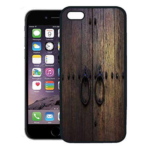 Semtomn Phone Case for iPhone 8 Plus case,Brown Wood Old Wooden Doors Rings Yellow Vintage Aged Antique Closeup iPhone 7 Plus case Cover,Black