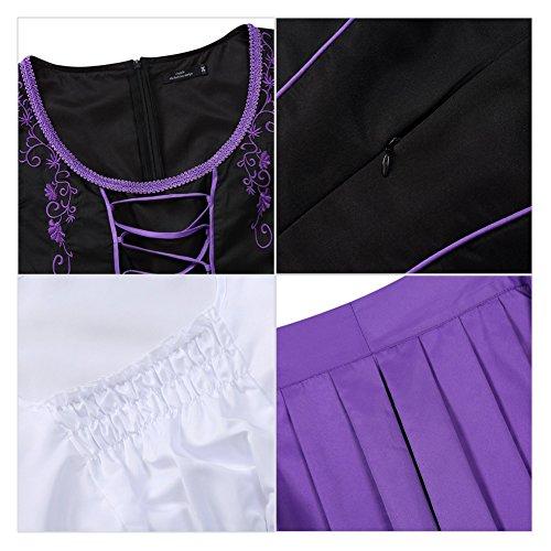 Costume Costume Dirndl pour Fete Courtes pour Set 3 Fminine D'Octobre Festival Violet de lgante Bavarois Oktoberfest Oktoberfest la Manches Halloween l Bire Carnaval Robe Robe Une No Robe de qCExd6x