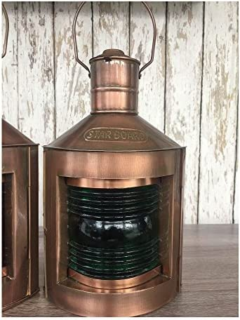 Antique Copper Finish Port Starboard Lanterns Ship Oil Lamp Nautical Light