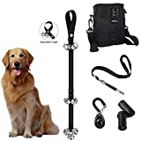 Pet DogTraining Essentials Kit Potty House Train Doorbells, Treat Pouch W/Waste Bag Dispenser, Pet Training Clicker Whistle W/Strap (Black)