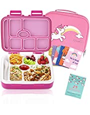 Bento Box For Kids Includes 7 Insulated Sealed Leakproof Compartments, Spork, Premium Kids Lunch Bag And 25 Bonus Unicorn Themed Motivational Lunch Box Notes. Vanli's Chowbox 39oz.