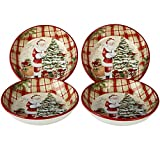 "Certified International 22825SET4 Holiday Wishes 9.25"" Soup/Pasta Bowls, Set of 4, One Size, Multicolor"