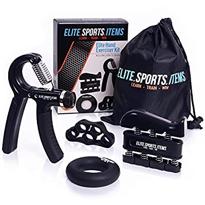 Hand Grip Strengthener Grip Workout (5 Pack) - Adjustable Forearm Hand Gripper, Finger Exerciser, Finger Stretcher & Exercise Ring + Carrying Bag + eBook + 3 Years Warranty - ELITE SPORTS ITEMS