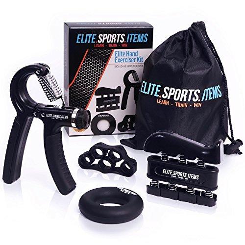 Hand Grip Strengthener Workout (4 Pack) - Adjustable Resistance Hand Strengthener, Finger Exerciser, Finger Stretcher, Grip Ring + Carrying Bag + eBook + 3 Years Warranty - ELITE SPORTS (Wrist Strengthener)