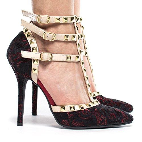 Arc-en-ciel zapatos de las mujeres de la hebilla tachonada de tacón alto de la sandalia Rojo