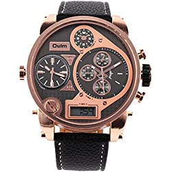 OULM Men Digital Analog Quartz Watch Leather Strap Rose Gold 3 Time Decoration Sub-dials