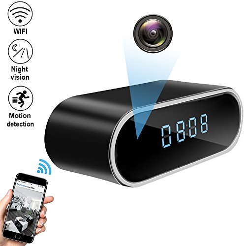 QUANDU WiFi Hidden Camera Clock Hidden Spy Clock Camera Night Vision Nanny Cam Mini Alarm Clock DVR With Motion Detection for Home Security Surveillance Apps for iOS/Android/PC/Mac - Digital Motion Detection Video Recorder