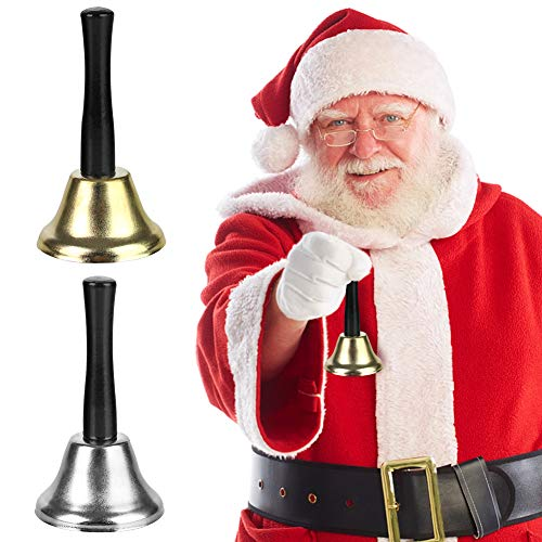 DomeStar Hand Bells, 2PCS Call Bell Handheld Bell Service Bell Wedding Bell Dinner Bell for Elderly Patients Sick Person