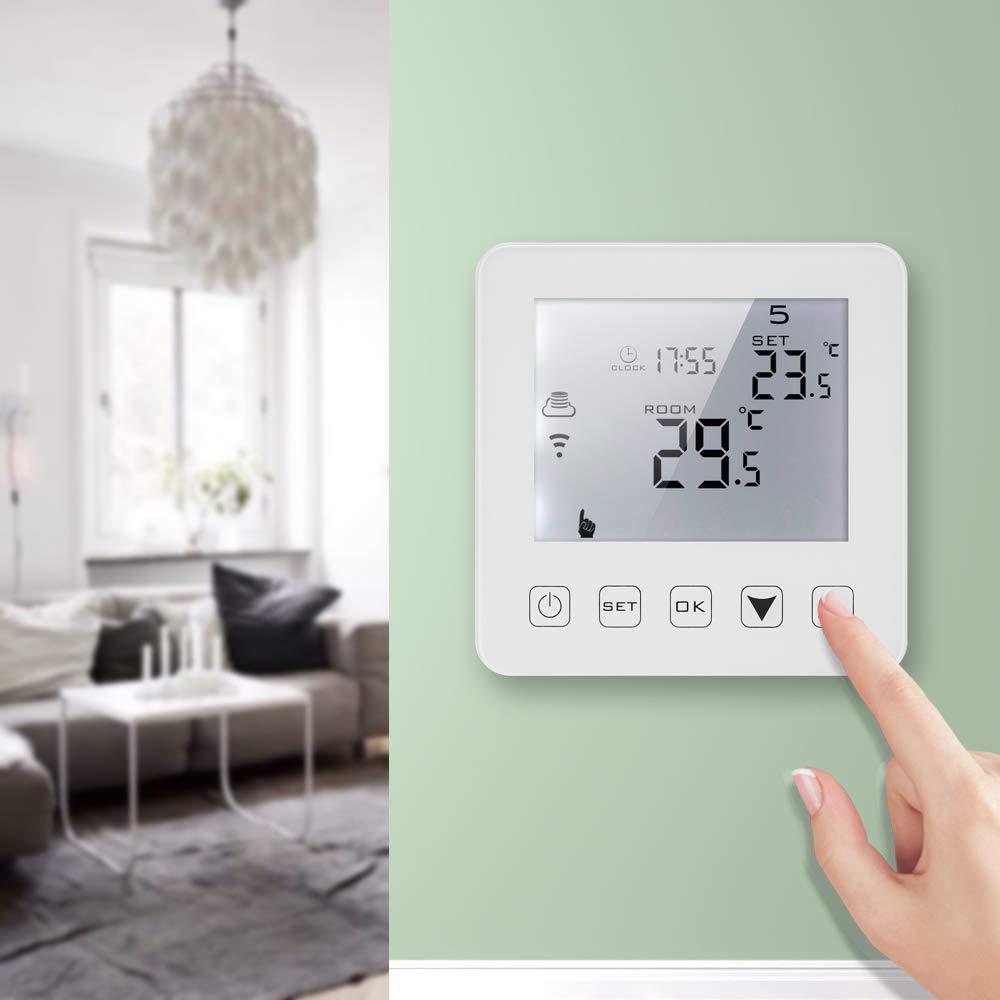 Decdeal 3A Termostato de Calefacci/ón El/éctrica Programable,Control de Voz Pantalla T/áctil LCD con Controlador de Temperatura de Luz de Fondo,Compatible con Echo Alexa