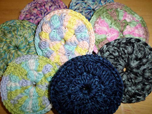 (Kitchen Doodads - Crochet Trinkets Handmade Crocheted Face Scrubbies, 100% Cotton, Make-up Remover Pads,Facial Wipes - Double Thickness - Colors Vary - Set of 4)