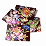 MacKenzie-Childs Flower Market Placemats - Black 12'' wide, 16'' long - Set of 4