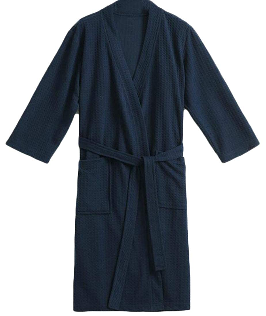 Domple Men Lightweight Spa Bathrobe Lounge Wear Comfort Loungewear Robe