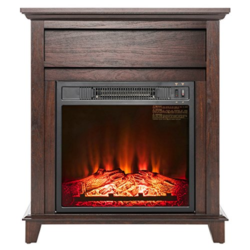 AKDY 27' Electric Fireplace Freestanding Brown Wooden Mantel Firebox 3D Flame w/Logs Heater