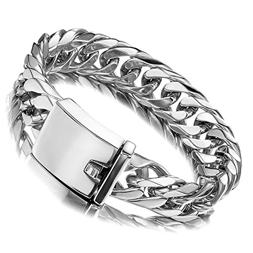 Jxlepe Miami Cuban Link Chain Bracelet 16mm Big Silver White Stainless Steel Curb Bangle for Men 8 inch ()