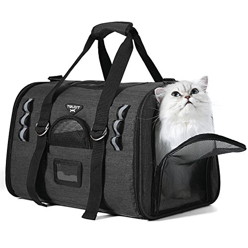 TOURIT Soft Sided Cat Carriers for Medium Cats Sturdy Pet Carrier with 2 Fleece Pads for Small Dogs Kitties