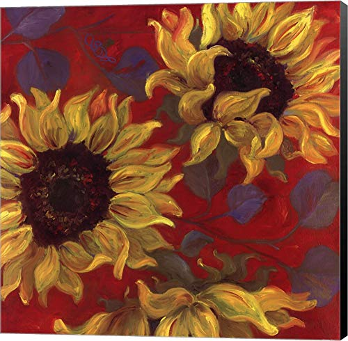 (Sunflower II by Shari White Canvas Art Wall Picture, Museum Wrapped with Black Sides, 24 x 24 inches )