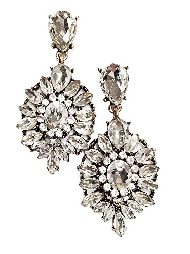 (Large Antique Gold Tone Art Deco Vintage Style Bridal Wedding Formal Rhinestone Earrings)