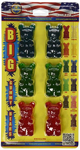 GIANT GUMMY BEAR Big Bear Six Pack- Cherry/Blue Raspberry/Apple