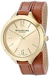 Stuhrling Original Women's 568.04 Analog Deauville Sport Swiss Quartz 23K Gold Plated Brown Genuine Leather Wrap Around Strap Watch