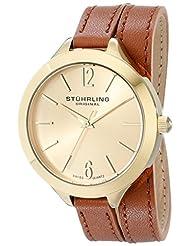 Stuhrling Original Women's 568.04 Leisure Soiree Deauville Sport Swiss Quartz Beige Leather Wrap-Around Strap Watch