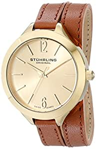 Stuhrling Original Women's 568.04 Analog Deauville Sport Swiss Quartz 23K Gold Plated Brown Genuine Leather Wrap Around Strap Watch