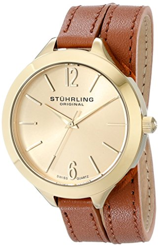 Stuhrling Original Women's 568.04 Analog Deauville Sport Swiss Quartz 23K Gold Plated Brown Genuine Leather Wrap Around Strap Watch (Watch Wrist Gold Plated Leather)