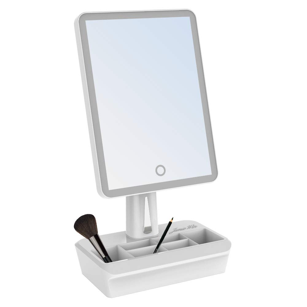 JAMIEWIN Lighted Vanity Makeup Mirror with 38 Led Lights and Cosmetic Organizer 360 Rotation Best Christmas Gifts for Women Girl Lady 1 Years Warranty 2071