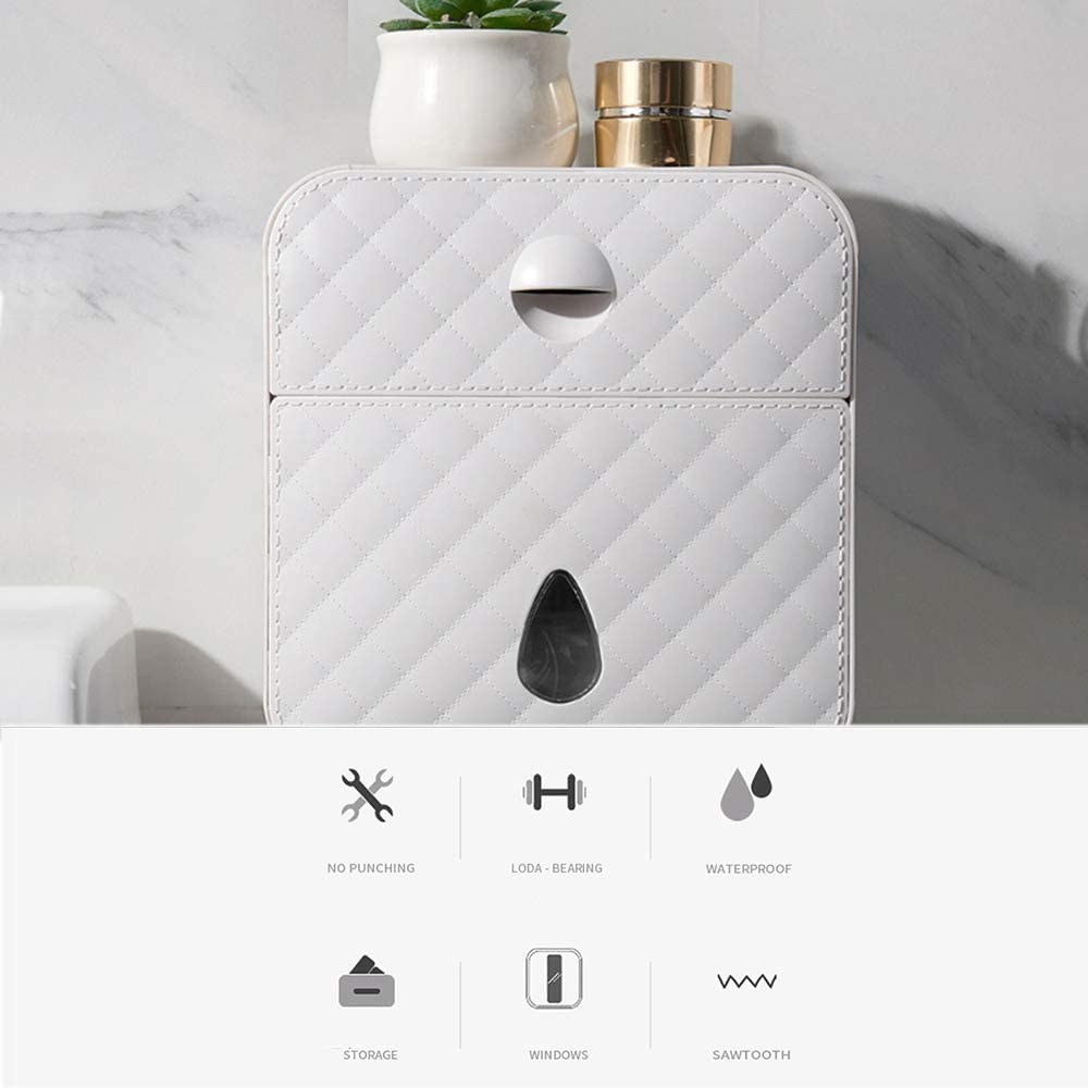 Galapara Paper Towel Dispenser,Wall Mounted No-drilling Paper Towel Holder,Bathroom Coreless Toilet Tissue Dispenser,Garbage Bags Holder Home Paper Extraction Dispenser
