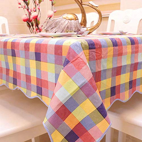 (Zone Waterproof Plastic Tablecloth, Plush Back Wipeable Oil Free Heat Resistant Wavy Edge Table Cover Protector Dining Coffee Table-A 150x200cm(59x79inch))