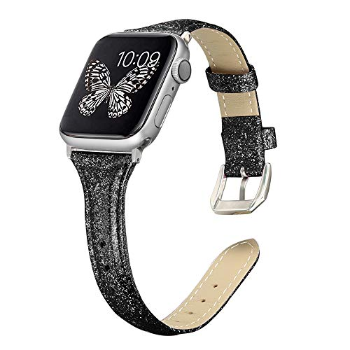 Secbolt Leather Bands Compatible Apple Watch Band 38mm 40mm Stainless Steel Buckle Replacement Slim Glitter Patent Leather Wristband Sport Strap Iwatch Series 4/3/2/1, Glitter Black - Patent Leather Band