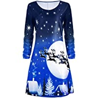Christmas Print Dress Among Ladies Evening Party Knee Length Dress Christmas Long Sleeve (Blue, L)