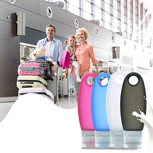 Larger Leak Proof Travel Bottles, 3.3 oz TSA Approved Refillable Squeezable Silicone Bottles With Shower Lanyard and Protable Clear Travel Bag By AusKit