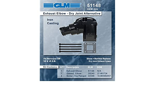 "GLM 51140 Mercruiser 262 305 350 454 502 4/"" Riser Elbow"