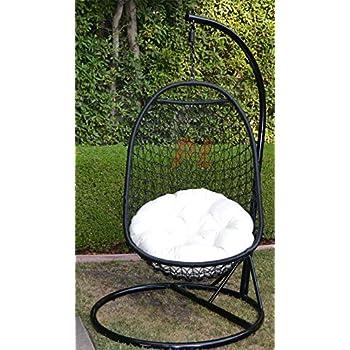 Charming Wicker Rattan Swing Bed Chair Weaved Egg Shape Hanging Hammock  BLACK/Khaki