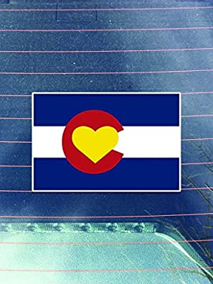 Colorado Flag Heart Vinyl Decals Sticker ( Two Pack )   Cars Trucks Vans Walls Laptops Cups   Printed   2 - 4 Inch Decals   KCD964