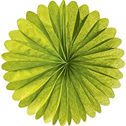 Luna Bazaar Hanging Paper Fan (19-Inch, Chartreuse Green) - Rice Paper Honeycomb Decorations - For Home Decor, Parties, and Weddings