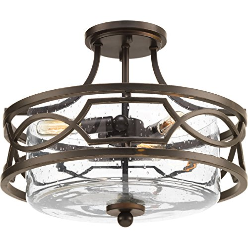 Progress Lighting P350050-020 Soiree Three-Light Semi-Flush Convertible, Antique Bronze - Convertible Semi Flush 3 Light